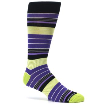 Image of Purple Lime Green Stripe Men's Dress Socks (side-1-25)