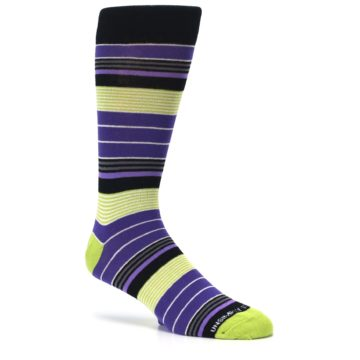 Image of Purple Lime Green Stripe Men's Dress Socks (side-1-26)
