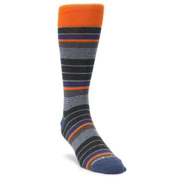 Image of Charcoal Orange Stripe Men's Dress Socks (side-1-front-02)