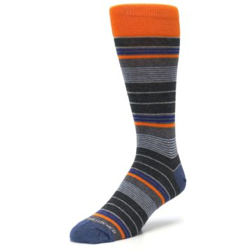 Image of Charcoal Orange Stripe Men's Dress Socks (side-2-front-08)