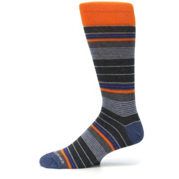 Image of Charcoal Orange Stripe Men's Dress Socks (side-2-11)