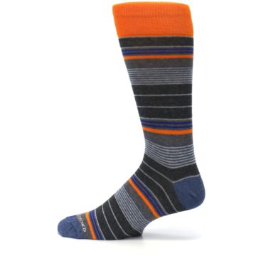 Image of Charcoal Orange Stripe Men's Dress Socks (side-2-12)
