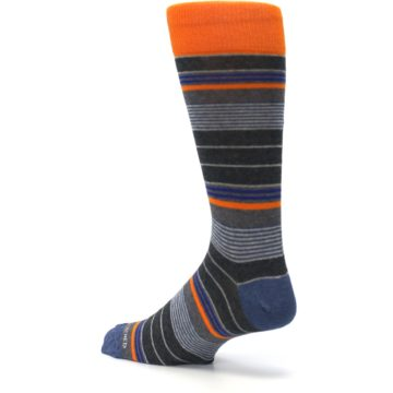 Image of Charcoal Orange Stripe Men's Dress Socks (side-2-back-14)