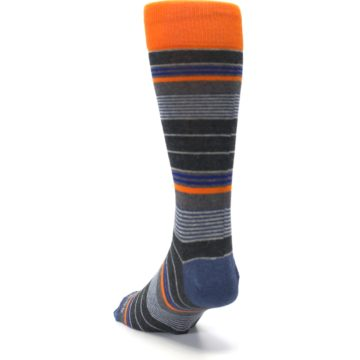 Image of Charcoal Orange Stripe Men's Dress Socks (side-2-back-16)