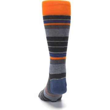 Image of Charcoal Orange Stripe Men's Dress Socks (back-17)