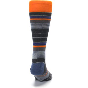Image of Charcoal Orange Stripe Men's Dress Socks (back-19)