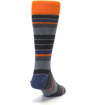 Image of Charcoal Orange Stripe Men's Dress Socks (side-1-back-20)