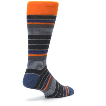 Image of Charcoal Orange Stripe Men's Dress Socks (side-1-back-22)
