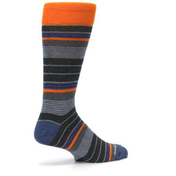 Image of Charcoal Orange Stripe Men's Dress Socks (side-1-23)