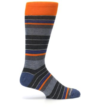 Image of Charcoal Orange Stripe Men's Dress Socks (side-1-24)