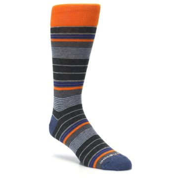 Image of Charcoal Orange Stripe Men's Dress Socks (side-1-27)