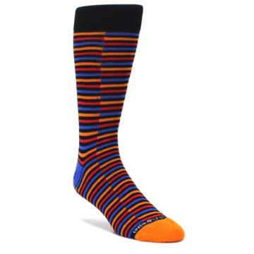 Orange Red Blue Stripe Men's Dress Socks