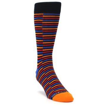 Image of Orange Red Blue Stripe Men's Dress Socks (side-1-front-02)