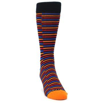 Image of Orange Red Blue Stripe Men's Dress Socks (side-1-front-03)