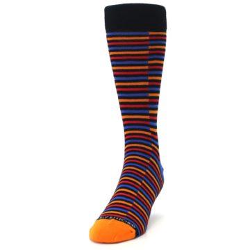 Image of Orange Red Blue Stripe Men's Dress Socks (side-2-front-06)