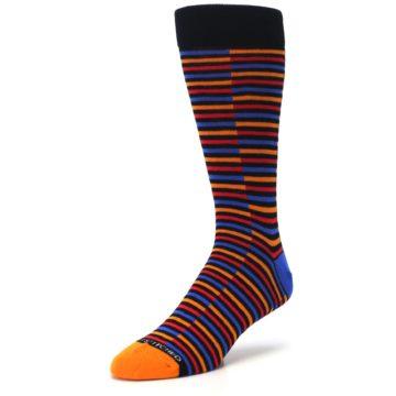 Image of Orange Red Blue Stripe Men's Dress Socks (side-2-front-08)