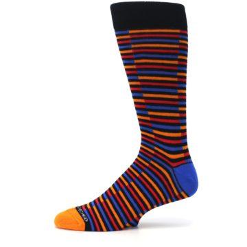Image of Orange Red Blue Stripe Men's Dress Socks (side-2-11)