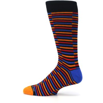 Image of Orange Red Blue Stripe Men's Dress Socks (side-2-12)