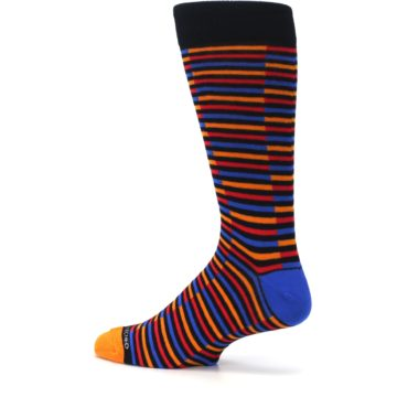 Image of Orange Red Blue Stripe Men's Dress Socks (side-2-13)