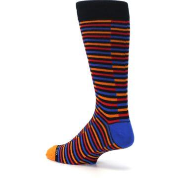 Image of Orange Red Blue Stripe Men's Dress Socks (side-2-back-14)