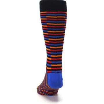 Image of Orange Red Blue Stripe Men's Dress Socks (back-17)