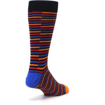 Image of Orange Red Blue Stripe Men's Dress Socks (side-1-back-21)