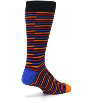 Image of Orange Red Blue Stripe Men's Dress Socks (side-1-back-22)