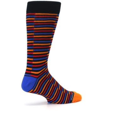 Image of Orange Red Blue Stripe Men's Dress Socks (side-1-23)