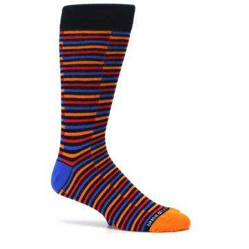 Image of Orange Red Blue Stripe Men's Dress Socks (side-1-25)
