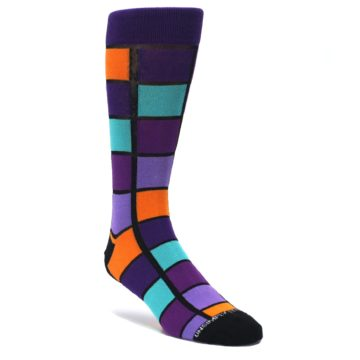 Purple-Orange-Teal-Checkered-Mens-Dress-Socks-Unsimply-Stitched