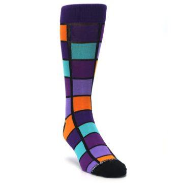 Image of Purple Orange Teal Checkered Men's Dress Socks (side-1-front-02)