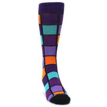 Image of Purple Orange Teal Checkered Men's Dress Socks (side-1-front-03)