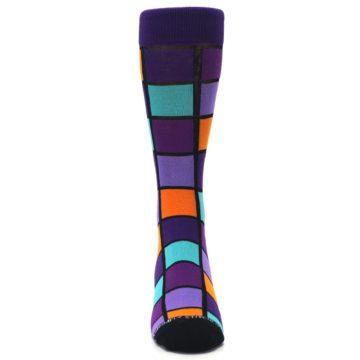 Image of Purple Orange Teal Checkered Men's Dress Socks (front-04)