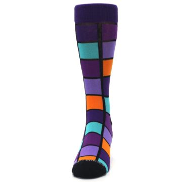 Image of Purple Orange Teal Checkered Men's Dress Socks (front-05)
