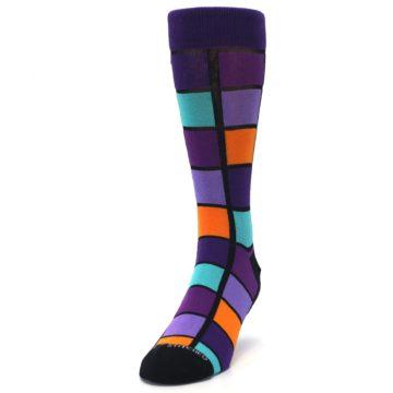 Image of Purple Orange Teal Checkered Men's Dress Socks (side-2-front-06)