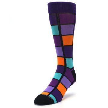 Image of Purple Orange Teal Checkered Men's Dress Socks (side-2-front-07)