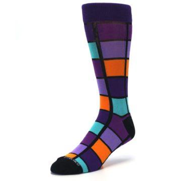 Image of Purple Orange Teal Checkered Men's Dress Socks (side-2-front-08)