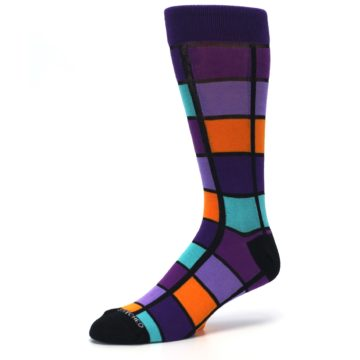 Image of Purple Orange Teal Checkered Men's Dress Socks (side-2-09)