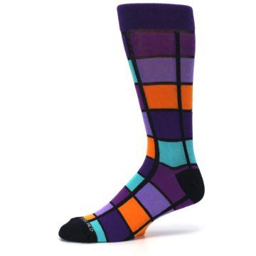 Image of Purple Orange Teal Checkered Men's Dress Socks (side-2-10)