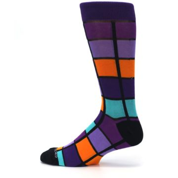 Image of Purple Orange Teal Checkered Men's Dress Socks (side-2-12)