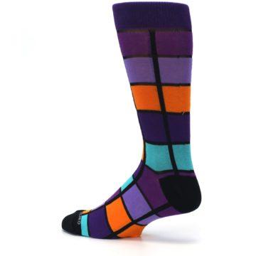 Image of Purple Orange Teal Checkered Men's Dress Socks (side-2-13)