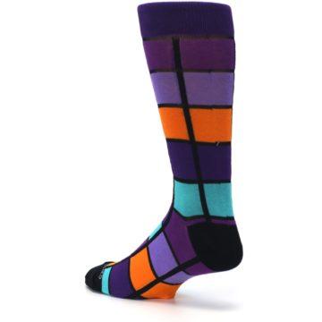 Image of Purple Orange Teal Checkered Men's Dress Socks (side-2-back-14)