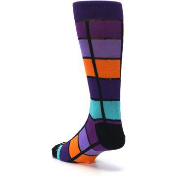 Image of Purple Orange Teal Checkered Men's Dress Socks (side-2-back-15)
