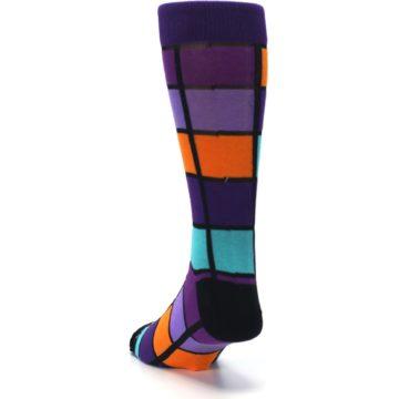 Image of Purple Orange Teal Checkered Men's Dress Socks (side-2-back-16)