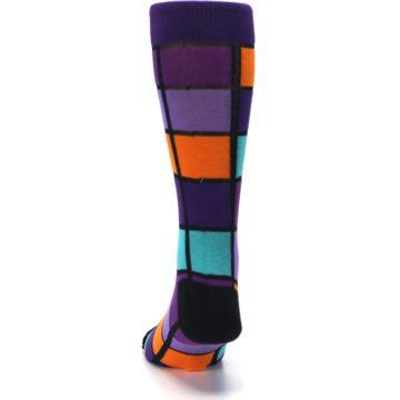 Image of Purple Orange Teal Checkered Men's Dress Socks (back-17)
