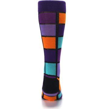 Image of Purple Orange Teal Checkered Men's Dress Socks (back-18)