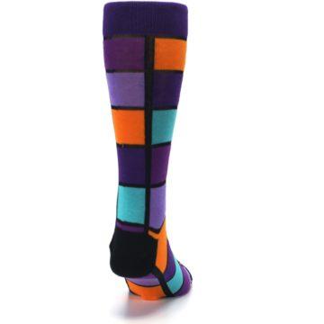 Image of Purple Orange Teal Checkered Men's Dress Socks (back-19)