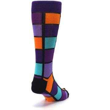 Image of Purple Orange Teal Checkered Men's Dress Socks (side-1-back-20)