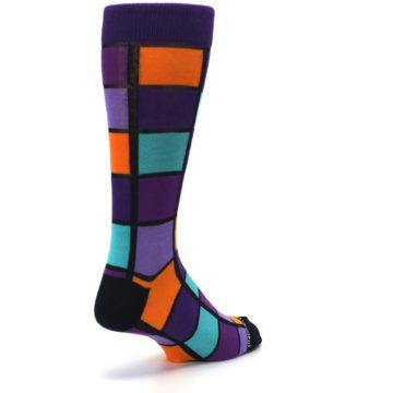 Image of Purple Orange Teal Checkered Men's Dress Socks (side-1-back-21)