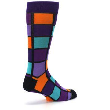 Image of Purple Orange Teal Checkered Men's Dress Socks (side-1-back-22)